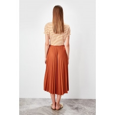 Trendyol Brown Pleated knitted skirt