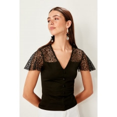Trendyol Black ruched knitted Blouse
