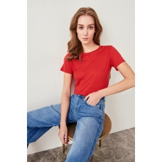 Trendyol Collar Knit t-shirt red Basic Bike