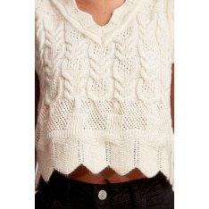 Trendyol Ekru Sleeveless and Knitted Detailed Knitwear Sweater Blouse