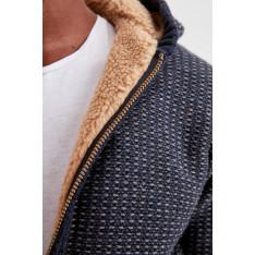 Trendyol Navy Blue Men's Hooded Sherpas Knitwear Cardigan