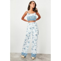 Trendyol Blue patterned blouse-trousers bottom/top tools