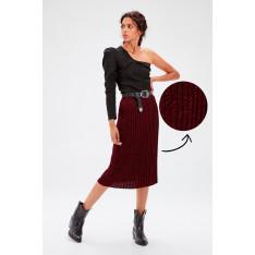Trendyol Burgundy Glitter Knitwear Skirt
