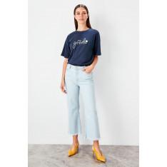 Trendyol Blue Legs tassel Detailed high waist Wide Leg Jeans