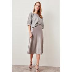 Trendyol Silver Satin Skirt