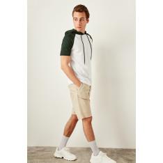 Trendyol Green Mens Hooded Short sleeve T-shirt
