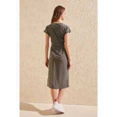 Trendyol Anthracite Binding Detailed Knitting Dress