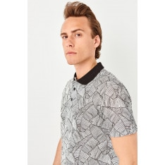 Trendyol Black Mens Printed Polo collar T-shirt