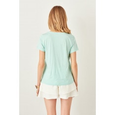 Trendyol Green V-neck cotton Basic knitted T-shirt