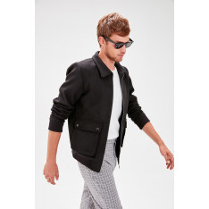 Trendyol Black Men's Front ZipperEd Coat
