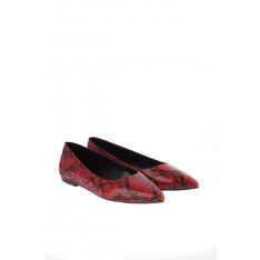 Trendyol Red Snake-Patterned Women's Flats