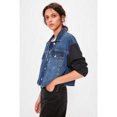 Trendyol Blue Sleeves Knitted Crop Denim Jacket