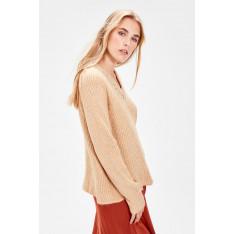 Trendyol Camel Collar Stony Knitwear Sweater