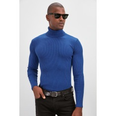 Trendyol Saks Men's Rubber Knitted Turtleneck Knitwear Sweater New