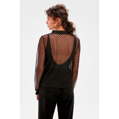 Trendyol Black Tulle Knitted Blouse