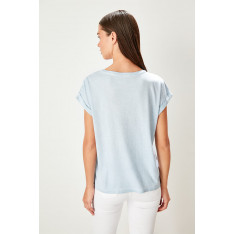 Trendyol Blue Brode Detailed washed Basic knitted T-shirt