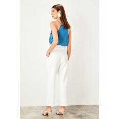 Trendyol Ecru Belt detailed trousers