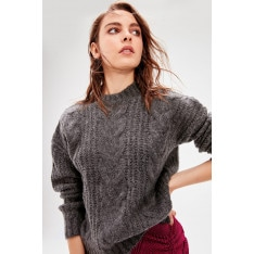 Trendyol Anthracite Braided Knitwear Sweater