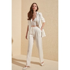 Trendyol Ecru Wide Leg Trousers