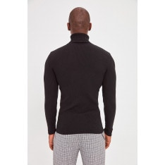Trendyol Black Men's Rubber Knitted Turtleneck Knitwear Sweater