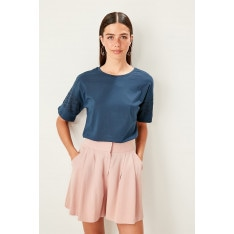 Trendyol Indigo Lace Detailed Knitted Crop Top Blouse