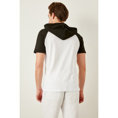 Trendyol Black men's Hooded short sleeve t-shirt