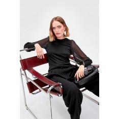 Trendyol Black Sleeves Tulle Detailed Knitwear Sweater
