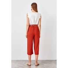 Trendyol Tile Mesh Belt Trousers
