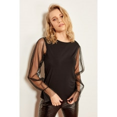 Trendyol Black Organza Tulle Detailed Knitted Blouse