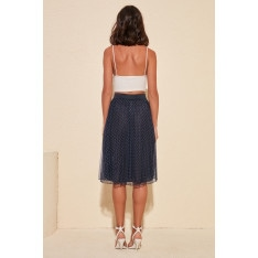 Trendyol Tulle Knitted Skirt with Navy Pyrenees