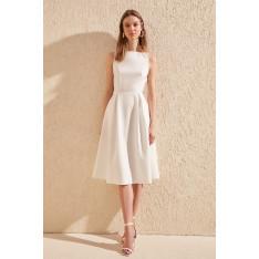Trendyol Ekru Pleated Dress