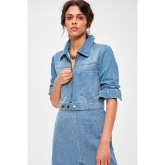 Trendyol Blue Zipper Detailed Crop Denim Jacket