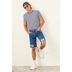 Trendyol Indigo Male Destroylu Shorts