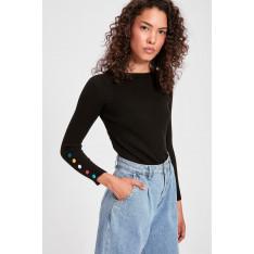 Trendyol Black Button Detailed Knitwear Sweater