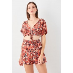 Trendyol Flower Patterned Back Decolletage Viscose Duo Suit