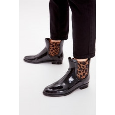 Trendyol Black Leopard Detailed Women's Rain Boots