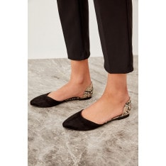 Trendyol Black Snake-Patterned Suede Women's Flats