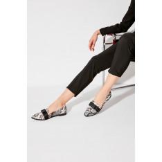 Trendyol Black Snake Patterned Women's Babet