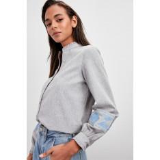 Trendyol Grey Embroidered Shirt
