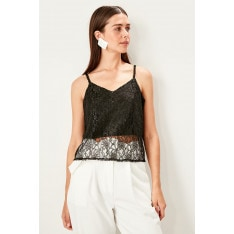Trendyol Black Lace detailed V-neck knitted blouse