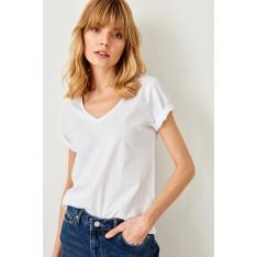 Trendyol White 100% Cotton Basic Knit v-neck t-shirt