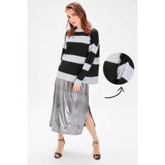 Trendyol Black Striped Simli Knitwear Sweater