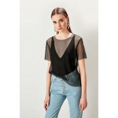 Trendyol Black Mesh Knit Blouse