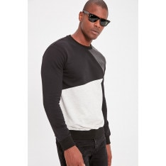 Trendyol Black Men's Long Sleeve Bicycle Collar Leather Sweatshirt