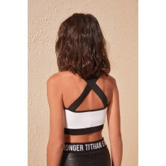 Trendyol White Back Cross Tape Detailed Sports Bra