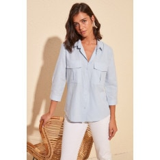 Trendyol Blue Double Pocket Shirt