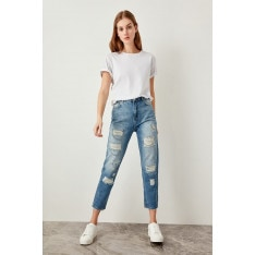 Trendyol Blue Chain Detailed High Waist Mom Jeans