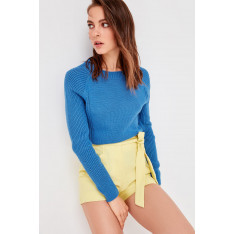 Trendyol Blue Bicycle Collar Basic Knitwear Sweater