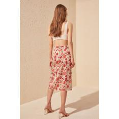 Trendyol Flower Patterned Satin Looking Skirt