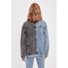 Trendyol Blue Block Wash Denim Jacket